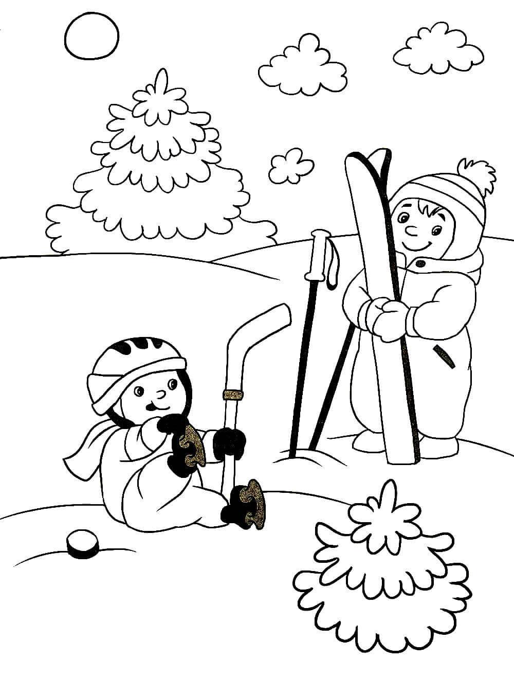 Раскраска Ребята катаются на лыжах