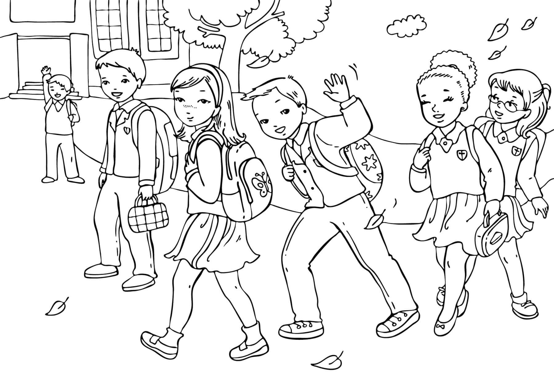 Раскраска Ребята спешат в школу