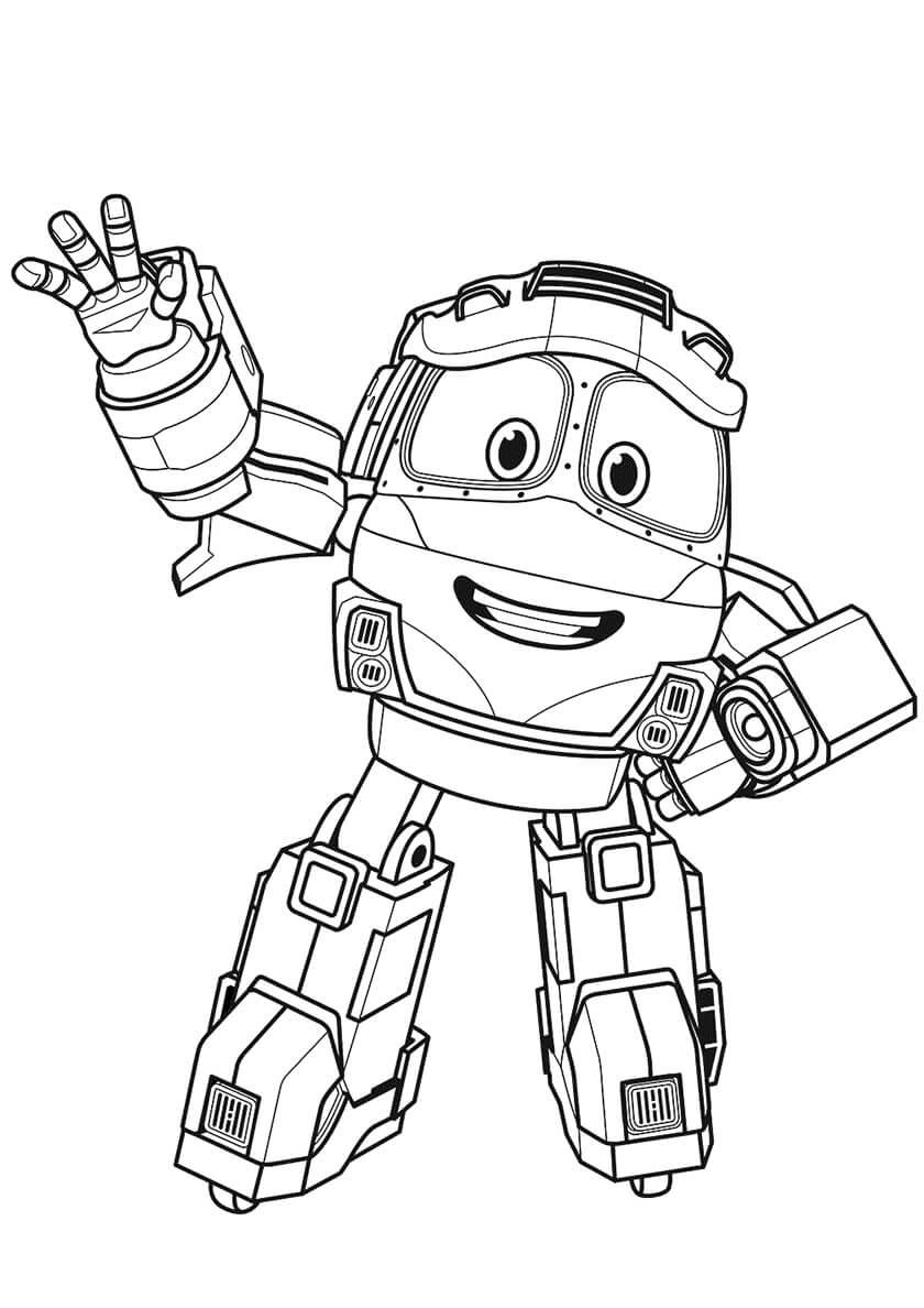 Раскраска Робот-поезд Альф