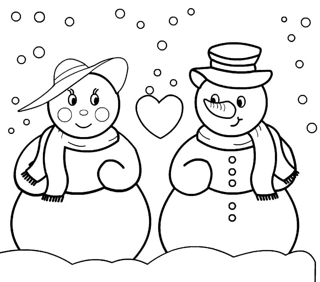 Раскраска Романтичные снеговики