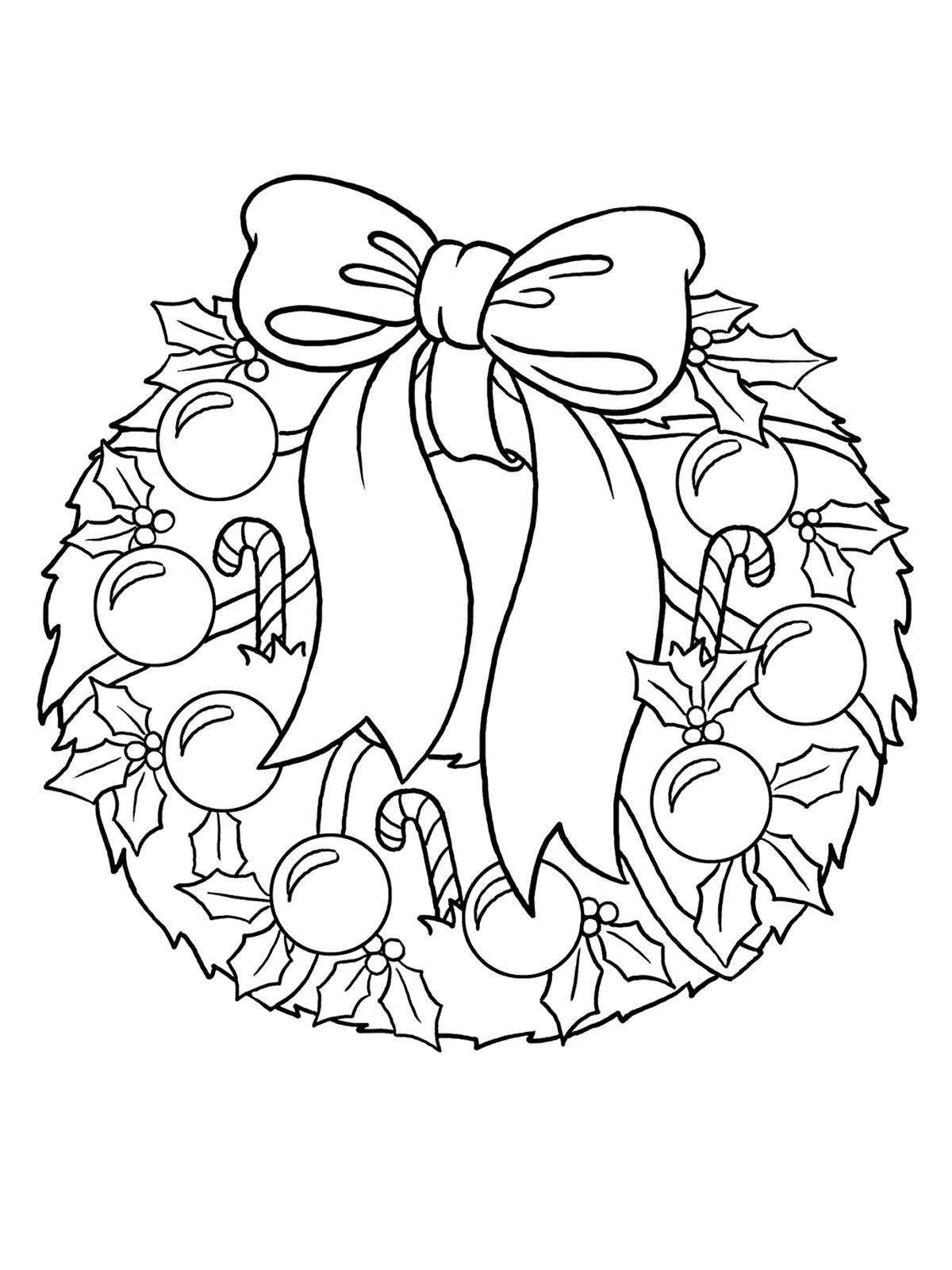 Раскраска Рождественский венок