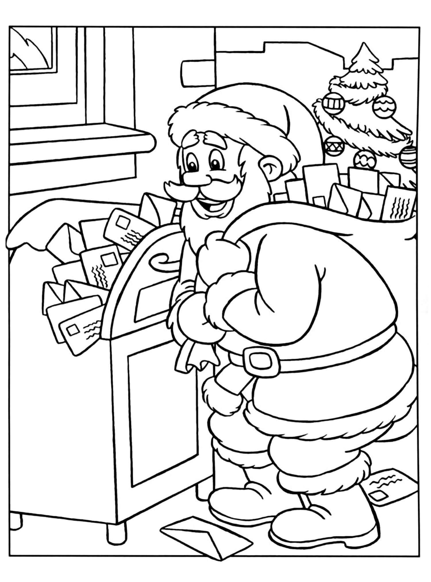 Раскраска Санта Клаус достаёт письма из почтового ящика
