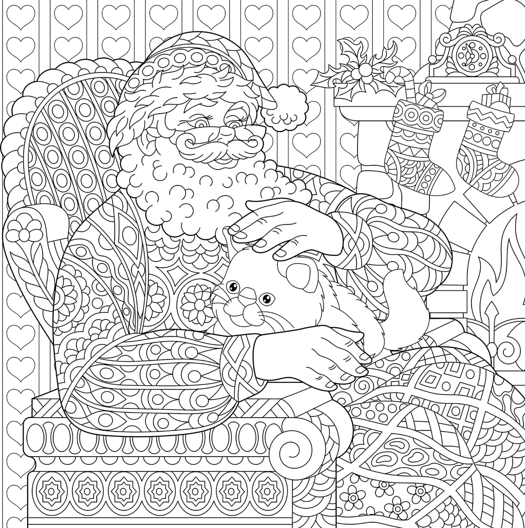Раскраска Санта Клаус и кошечка