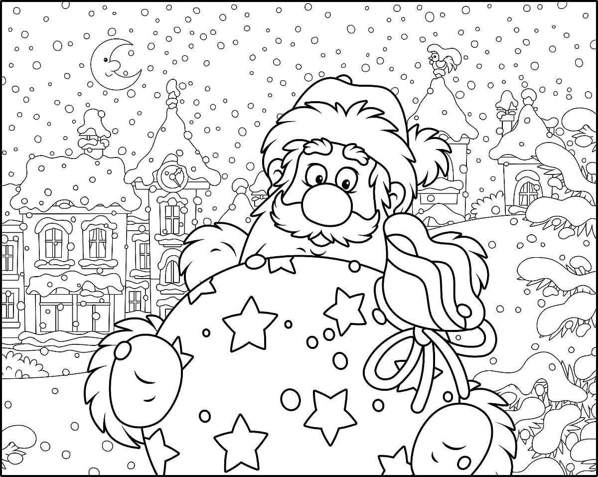 Раскраска Санта Клаус и мешок с подарками