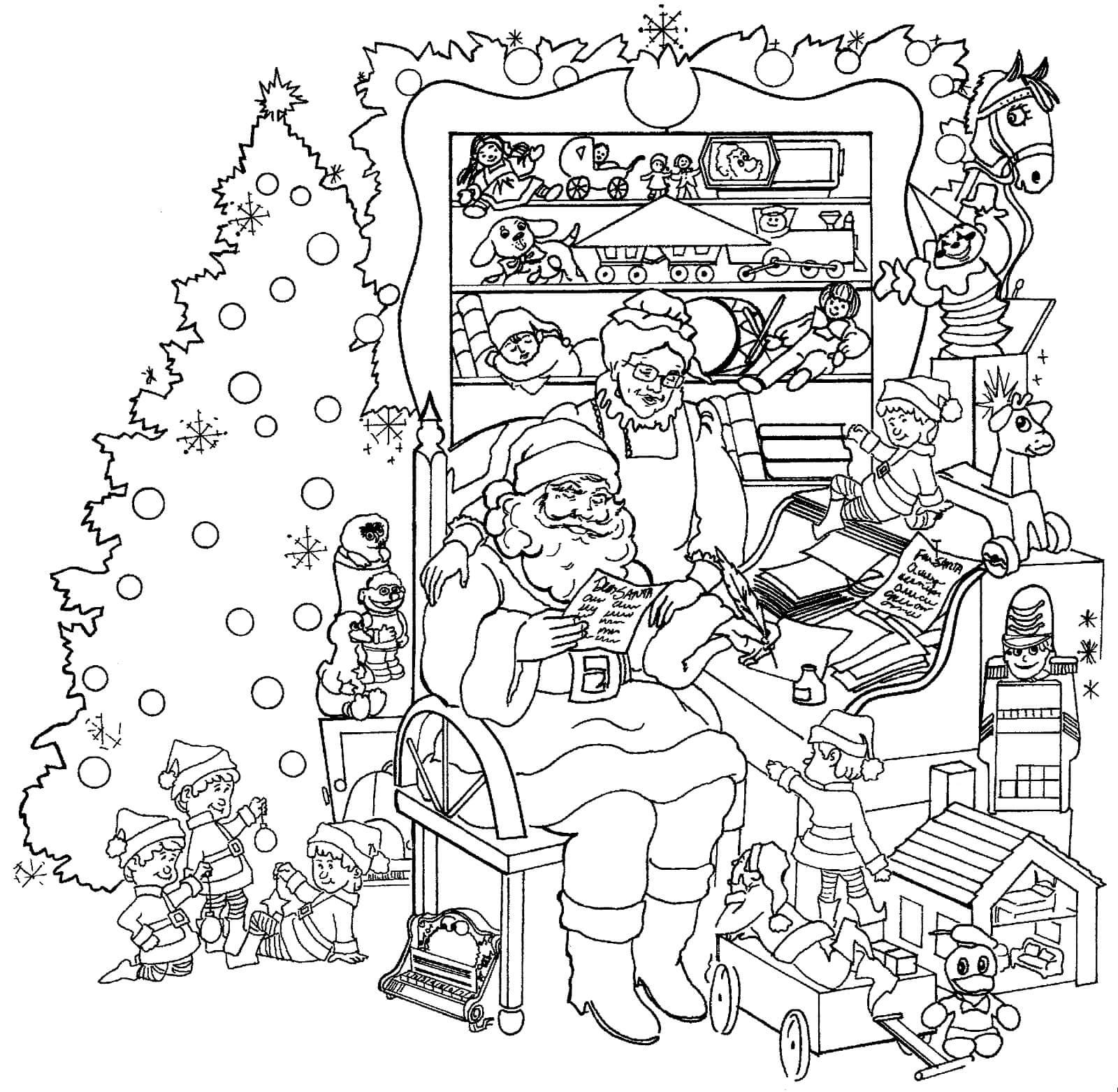 Раскраска Санта Клаус и Миссис Клаус читают письма