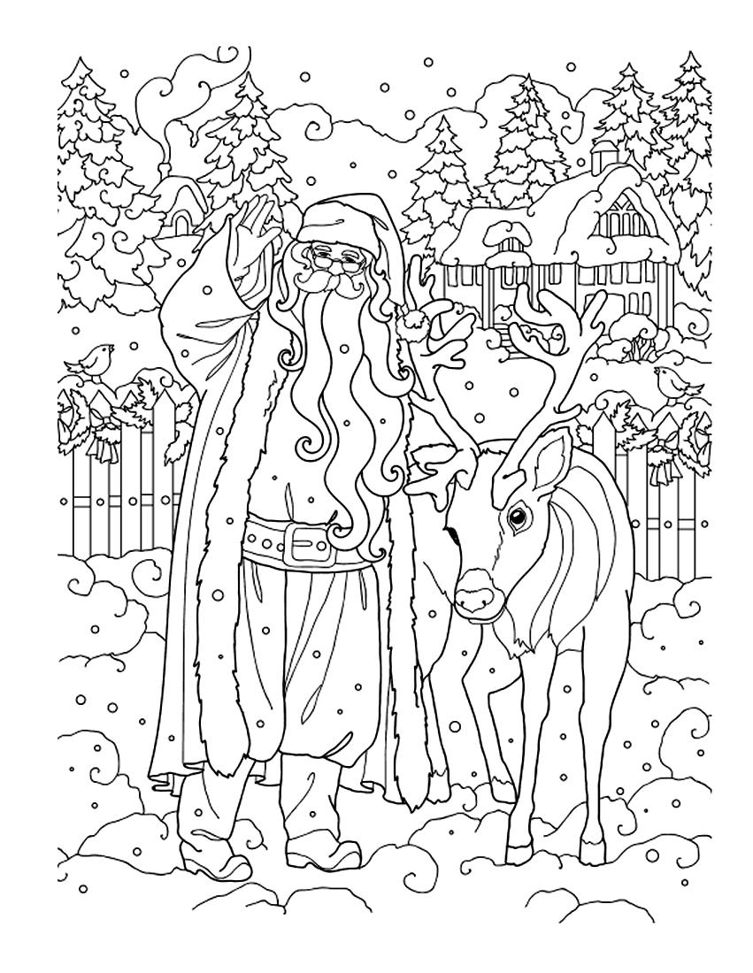 Раскраска Санта Клаус и олень