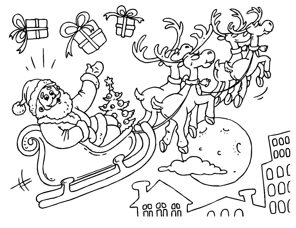 Раскраска Санта Клаус и подарки