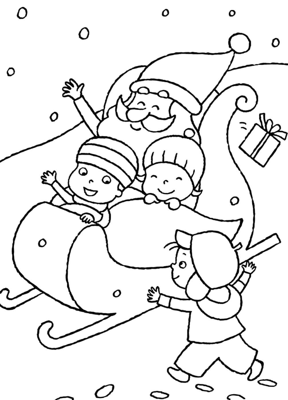 Раскраска Санта Клаус катает детей на санях