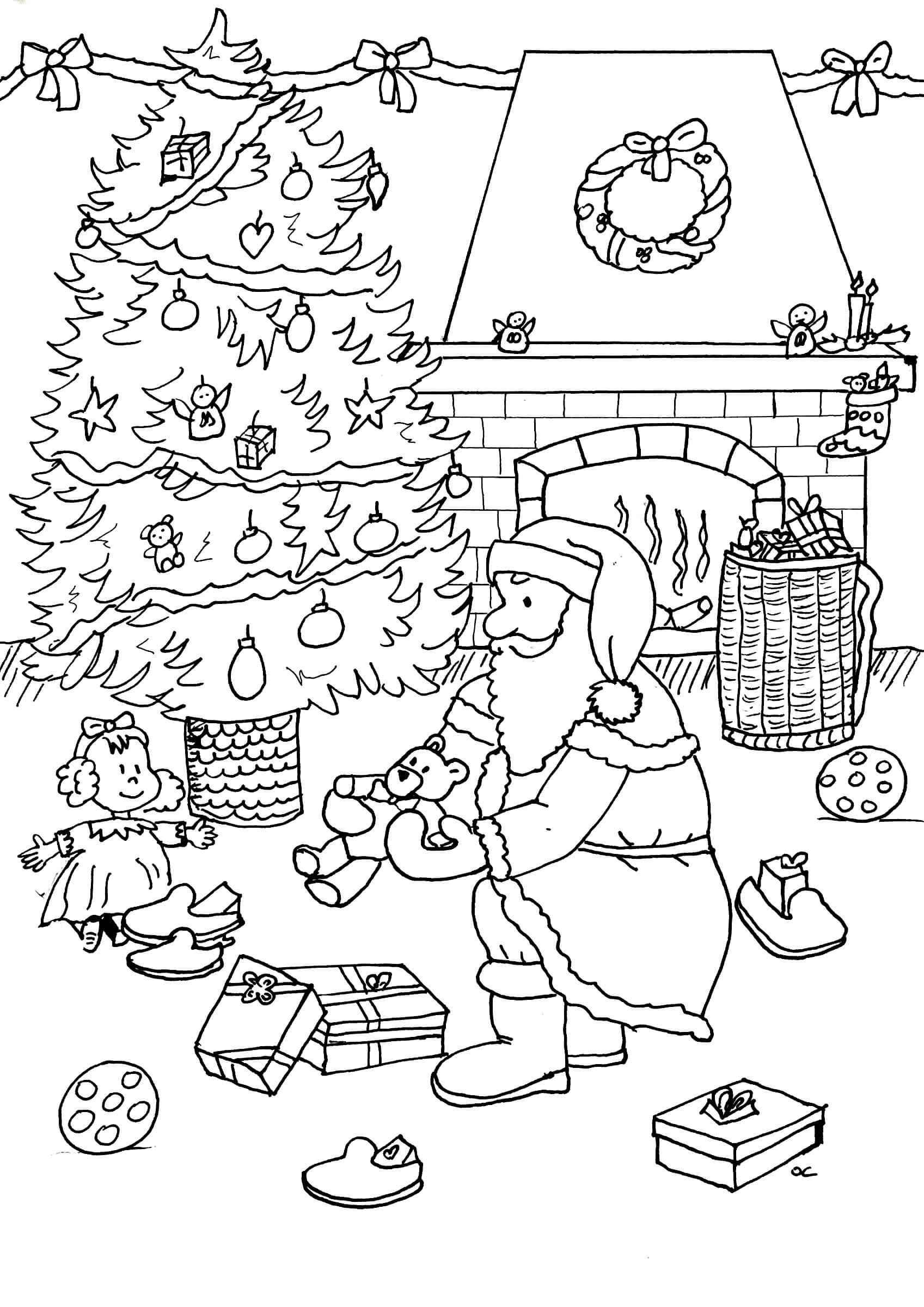 Раскраска Санта Клаус кладёт мишку под ёлку