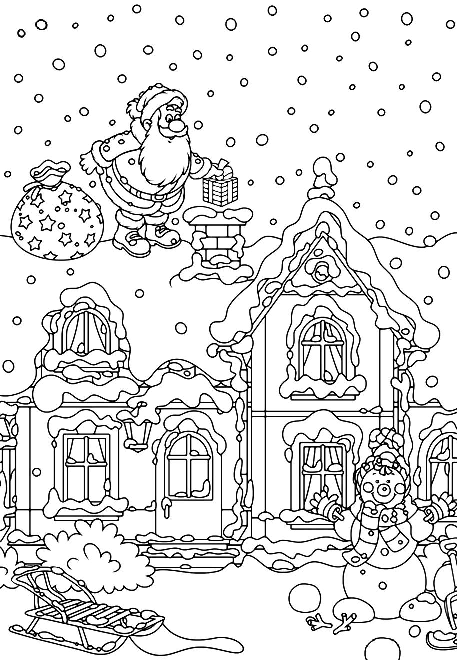 Раскраска Санта Клаус на крыше дома