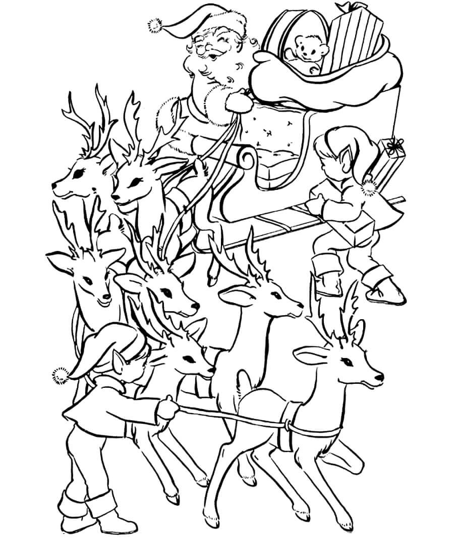 Раскраска Санта Клаус, олени и эльфы
