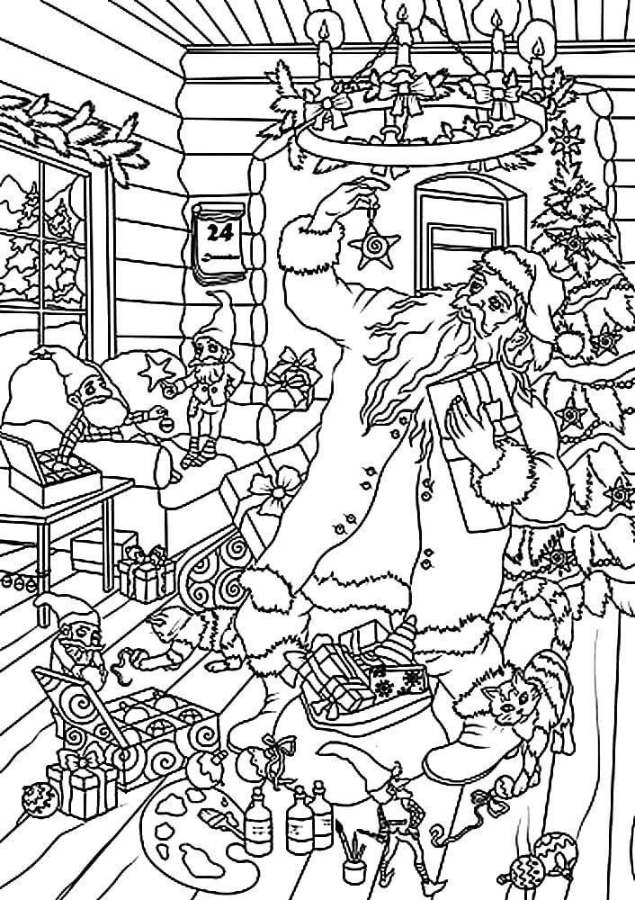 Раскраска Санта Клаус собирает подарки