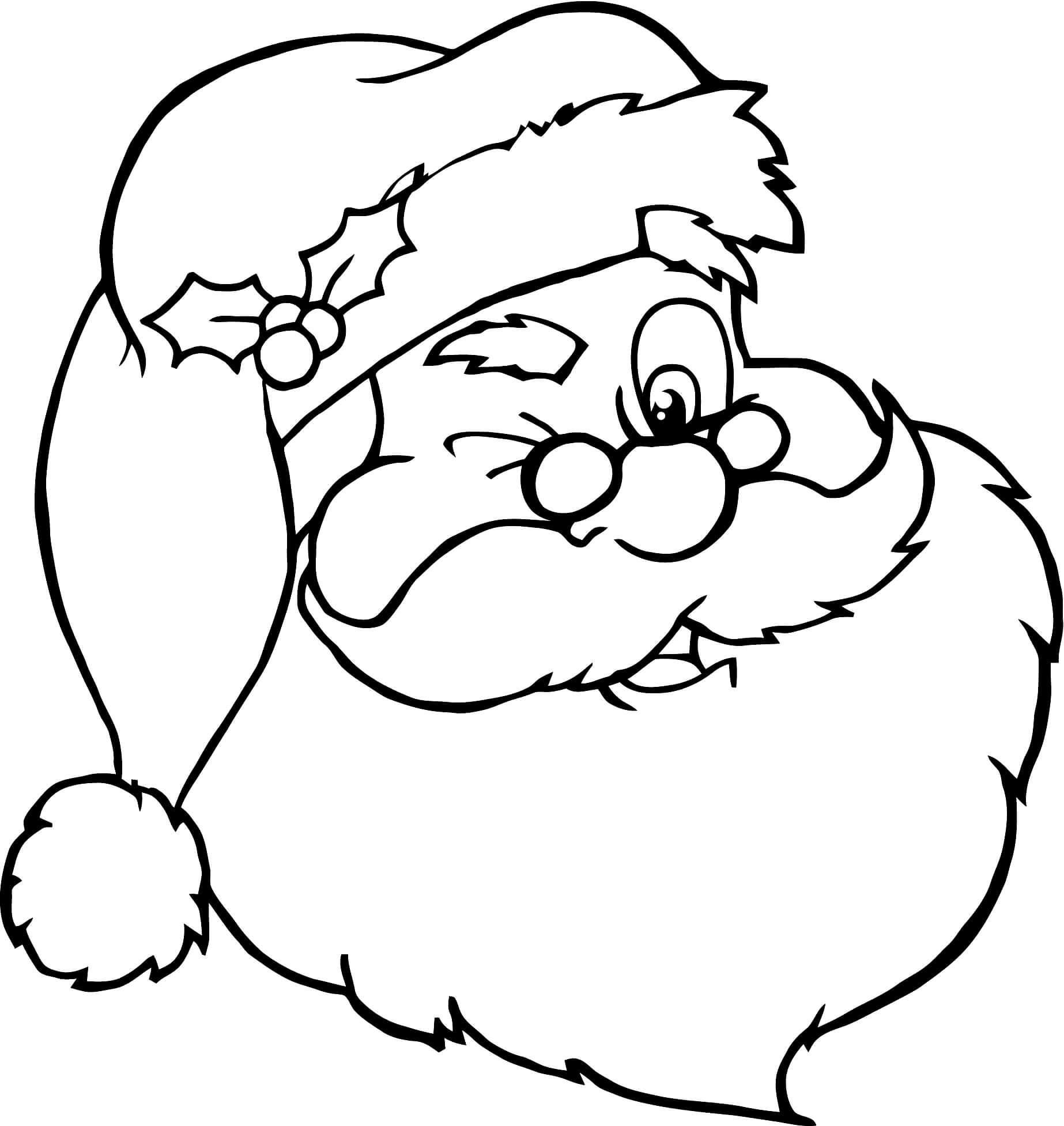 Раскраска Санта Клаус улыбается