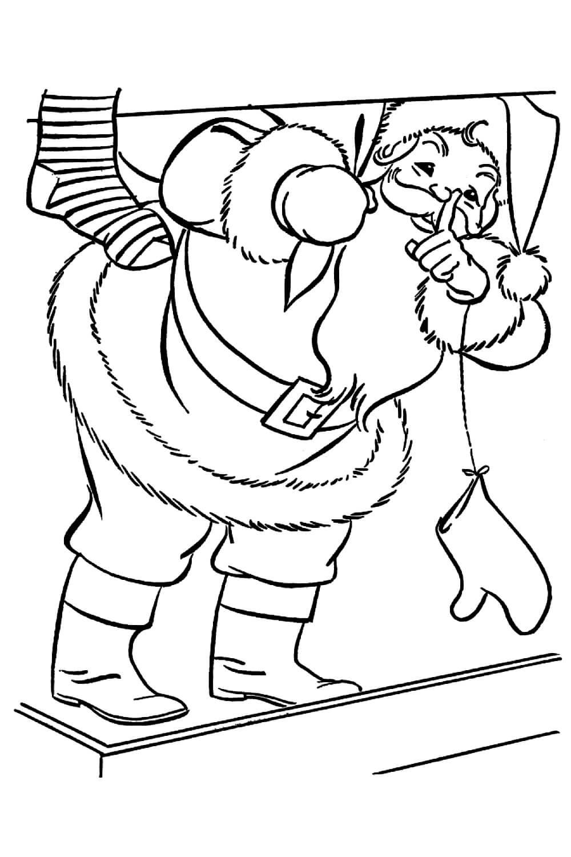 Раскраска Санта Клаус в доме