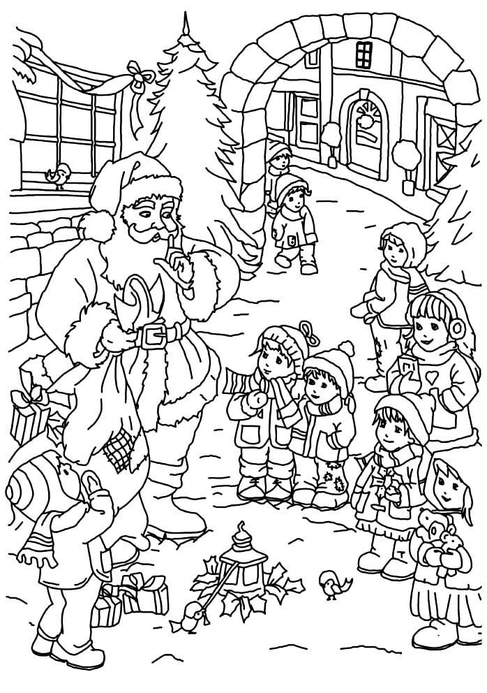Раскраска Санта Клаус в окружении детей