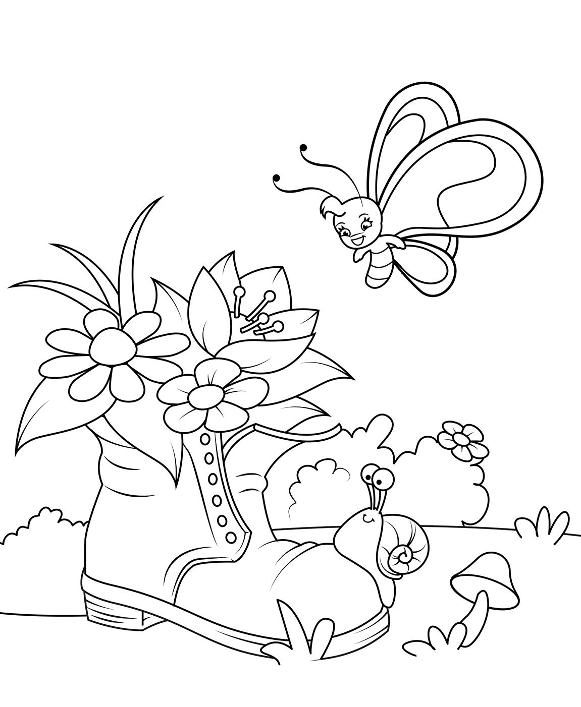Раскраска Сапог с цветочками
