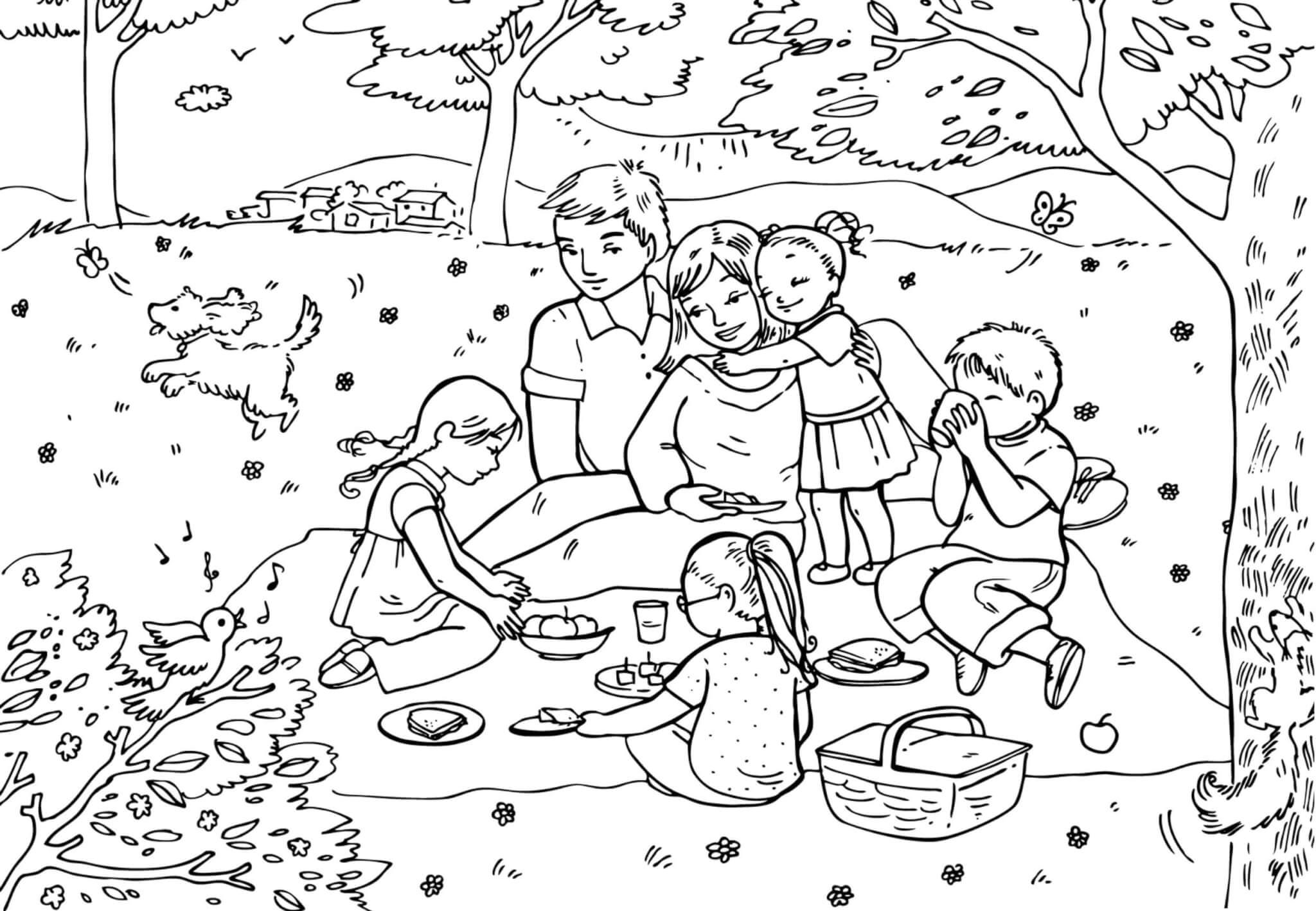 Раскраска Семья отдыхает на пикнике