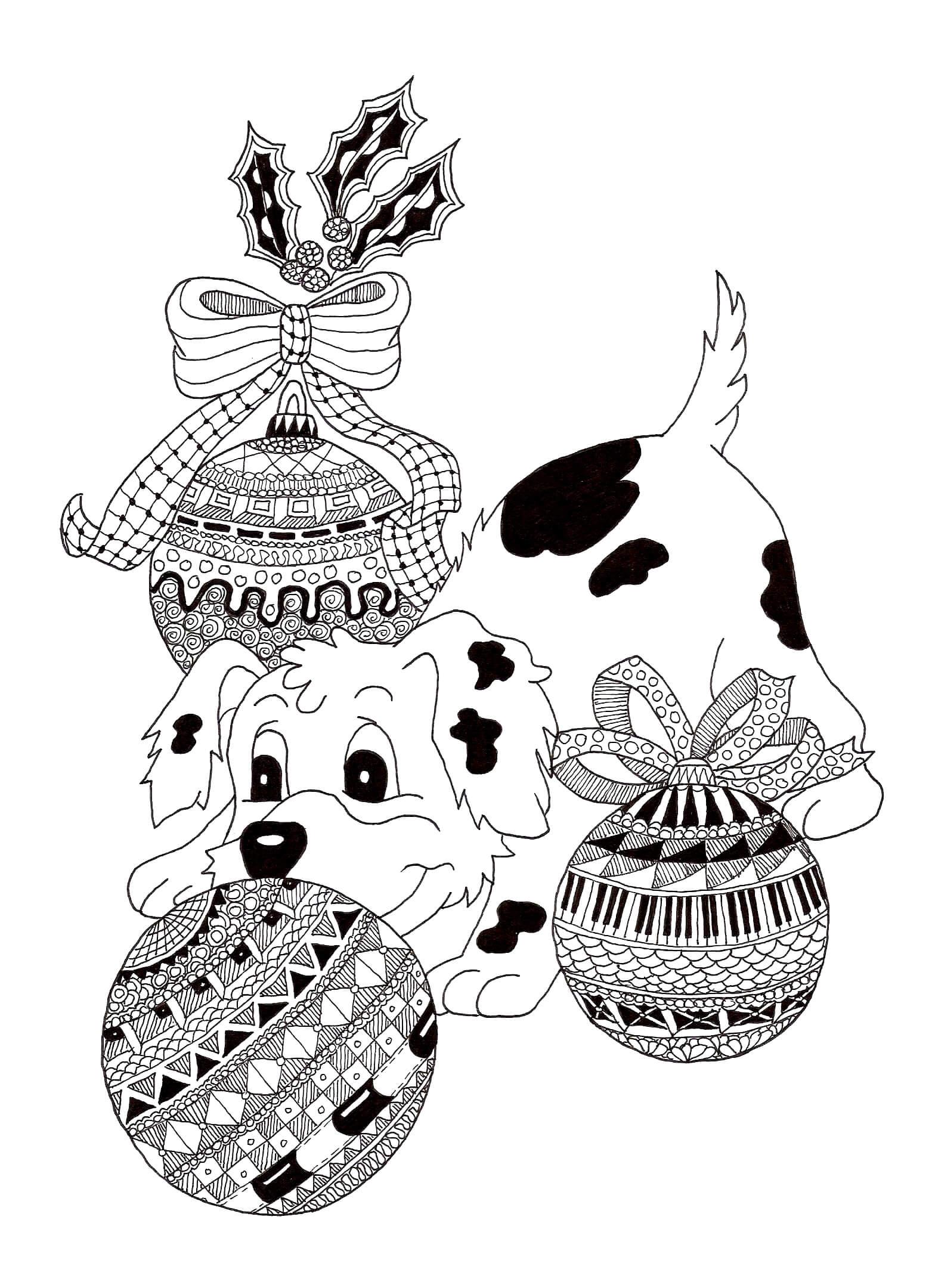 Раскраска Щенок и ёлочные шарики
