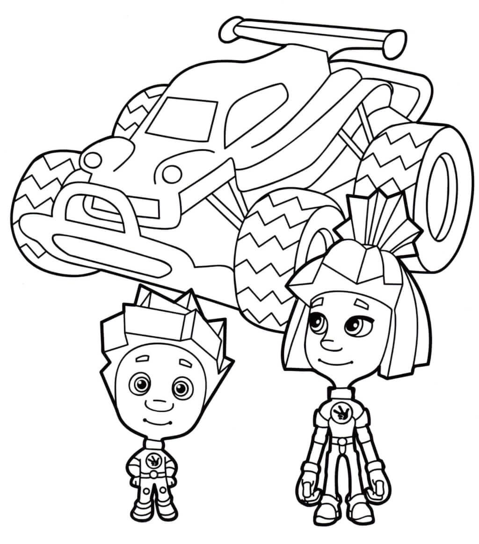 Раскраска «Симка и Нолик на машине»