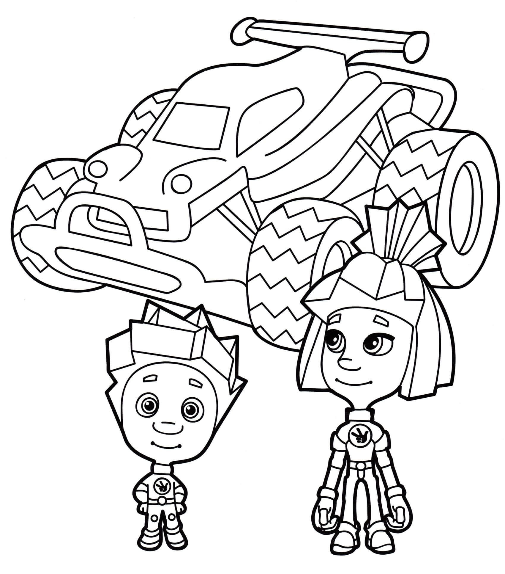 Раскраска Симка и Нолик на машине