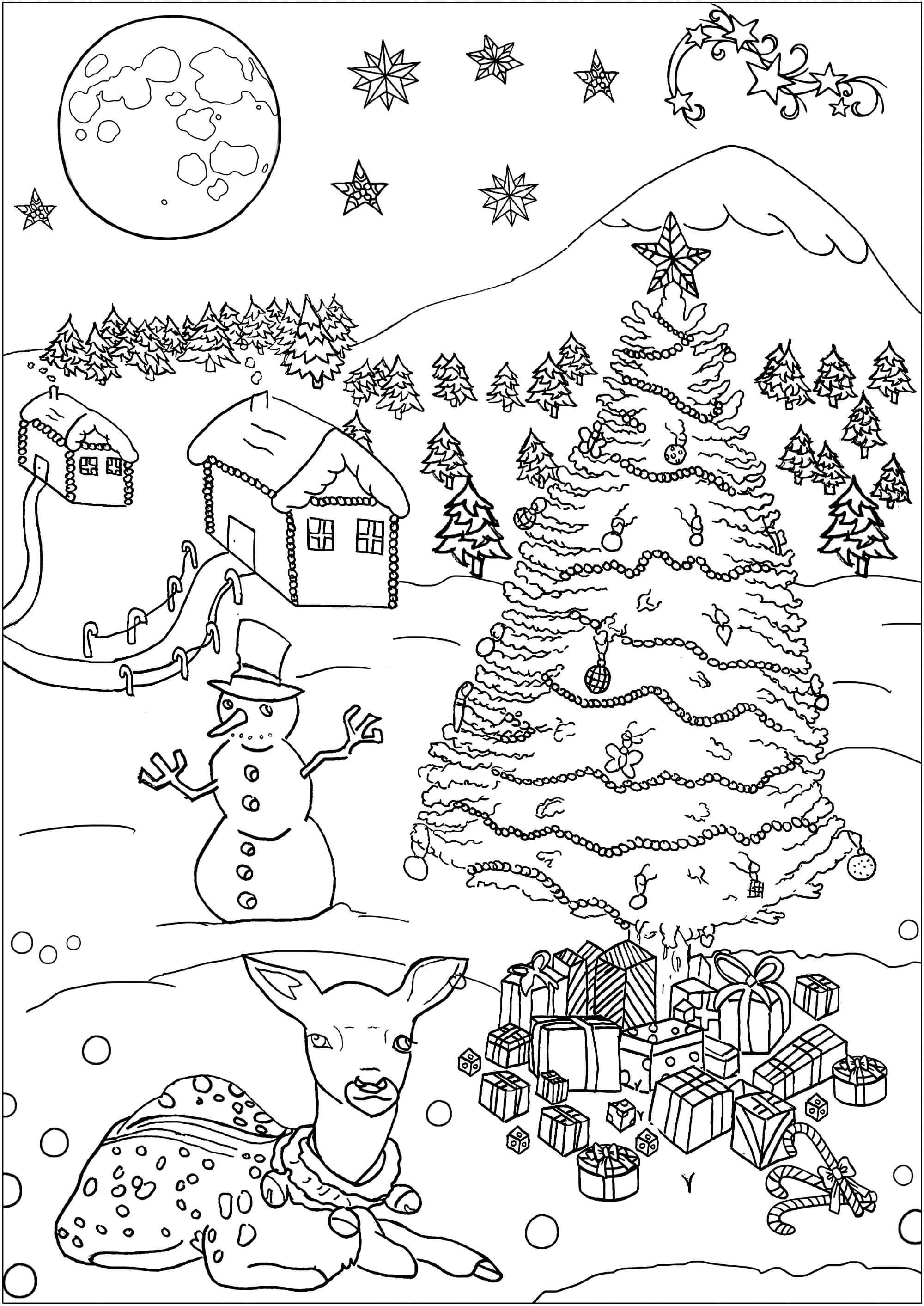 Раскраска Сказочно красивый зимний лес