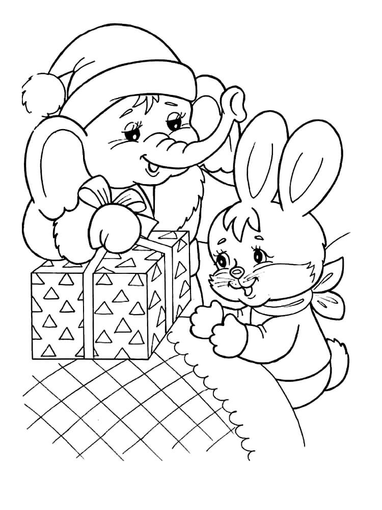 Раскраска Слонёнок дарит зайчику подарок