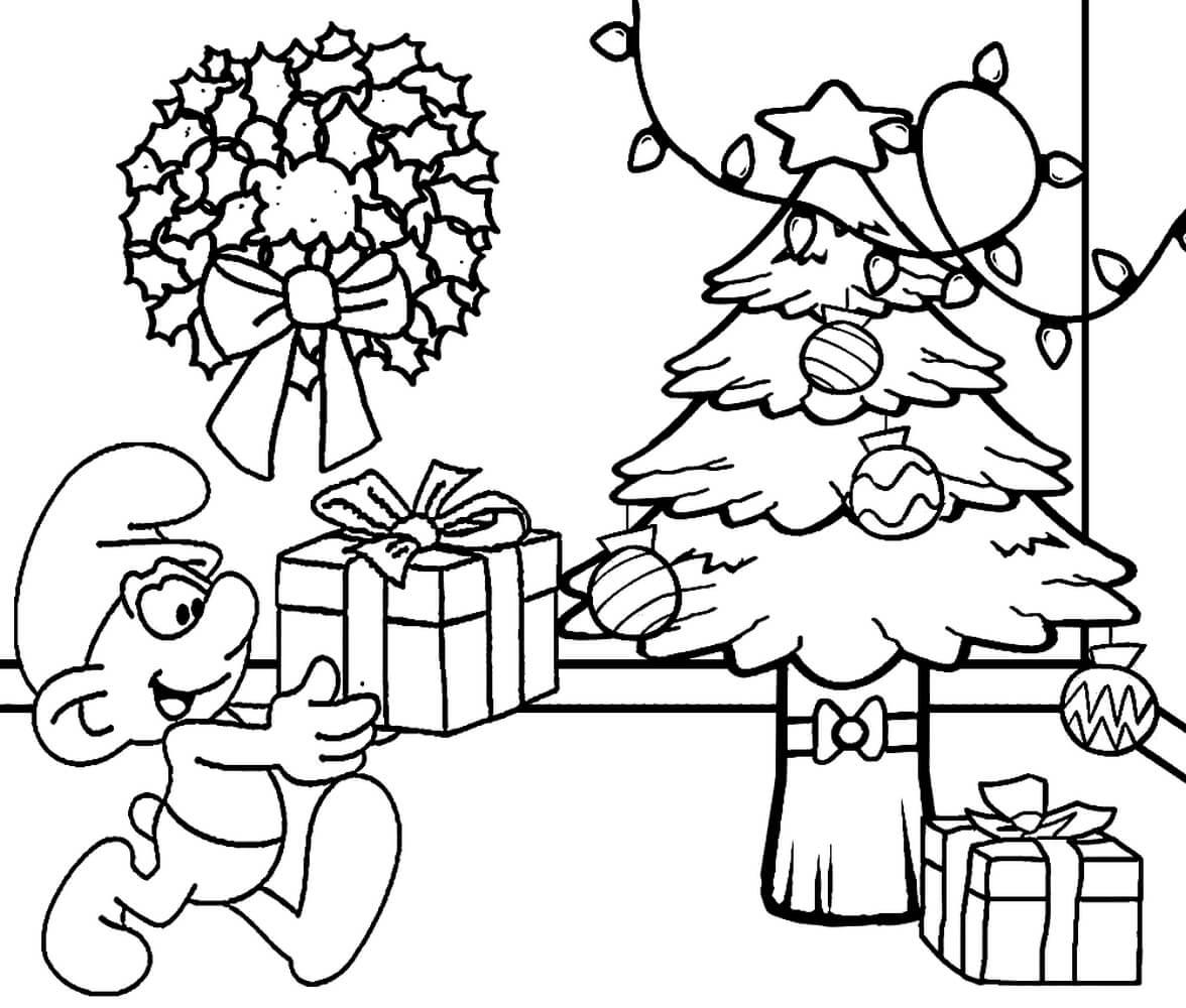 Раскраска Смурфик кладёт подарок под ёлку