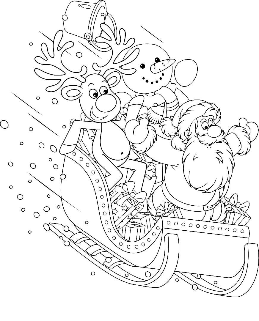 Раскраска Снеговик, Дед Мороз и олень едут на санях