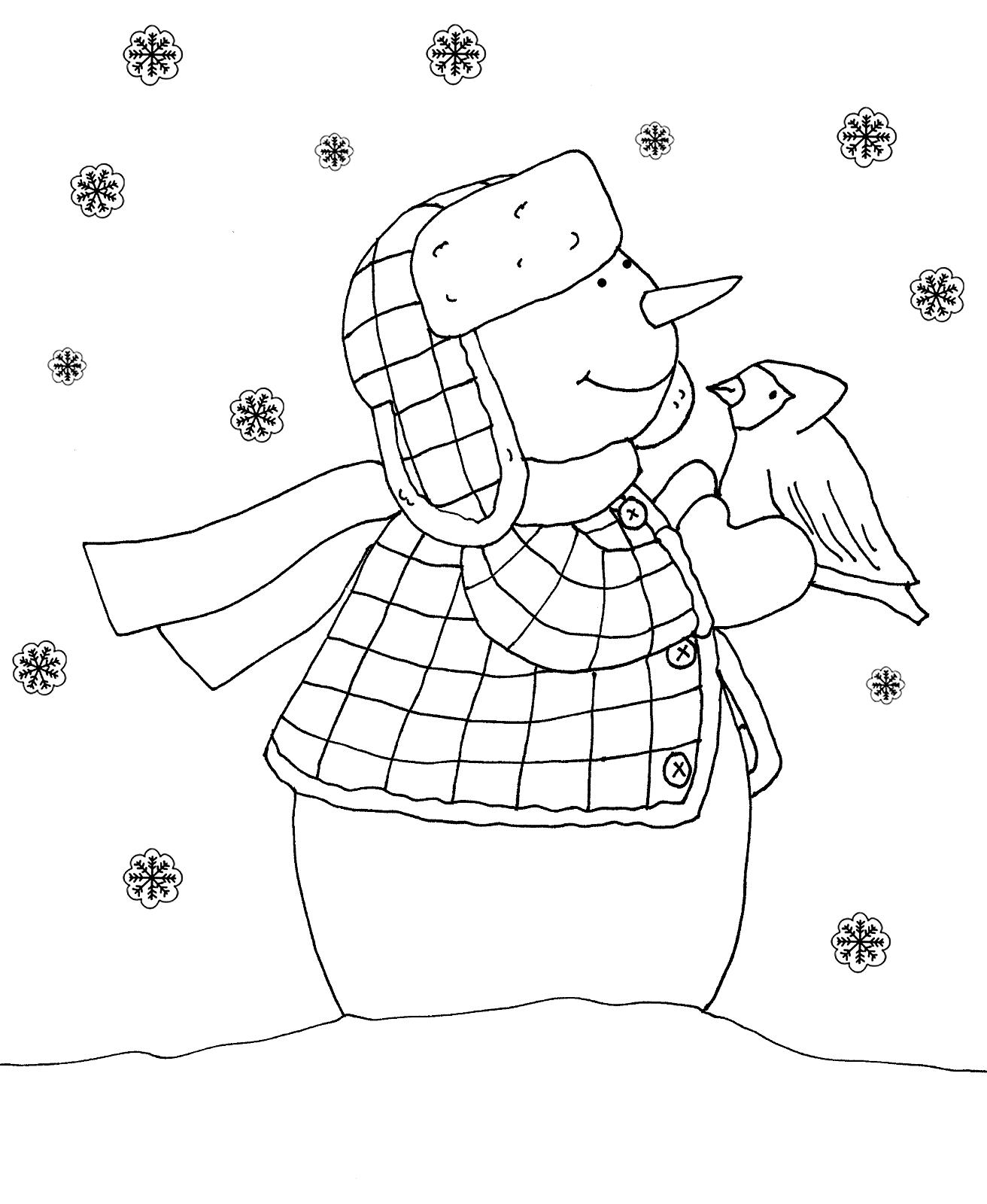 Раскраска Снеговик и птичка