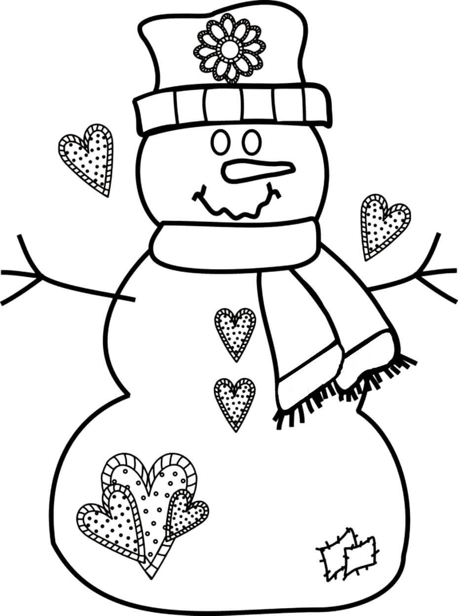 Раскраска Снеговик и сердечки