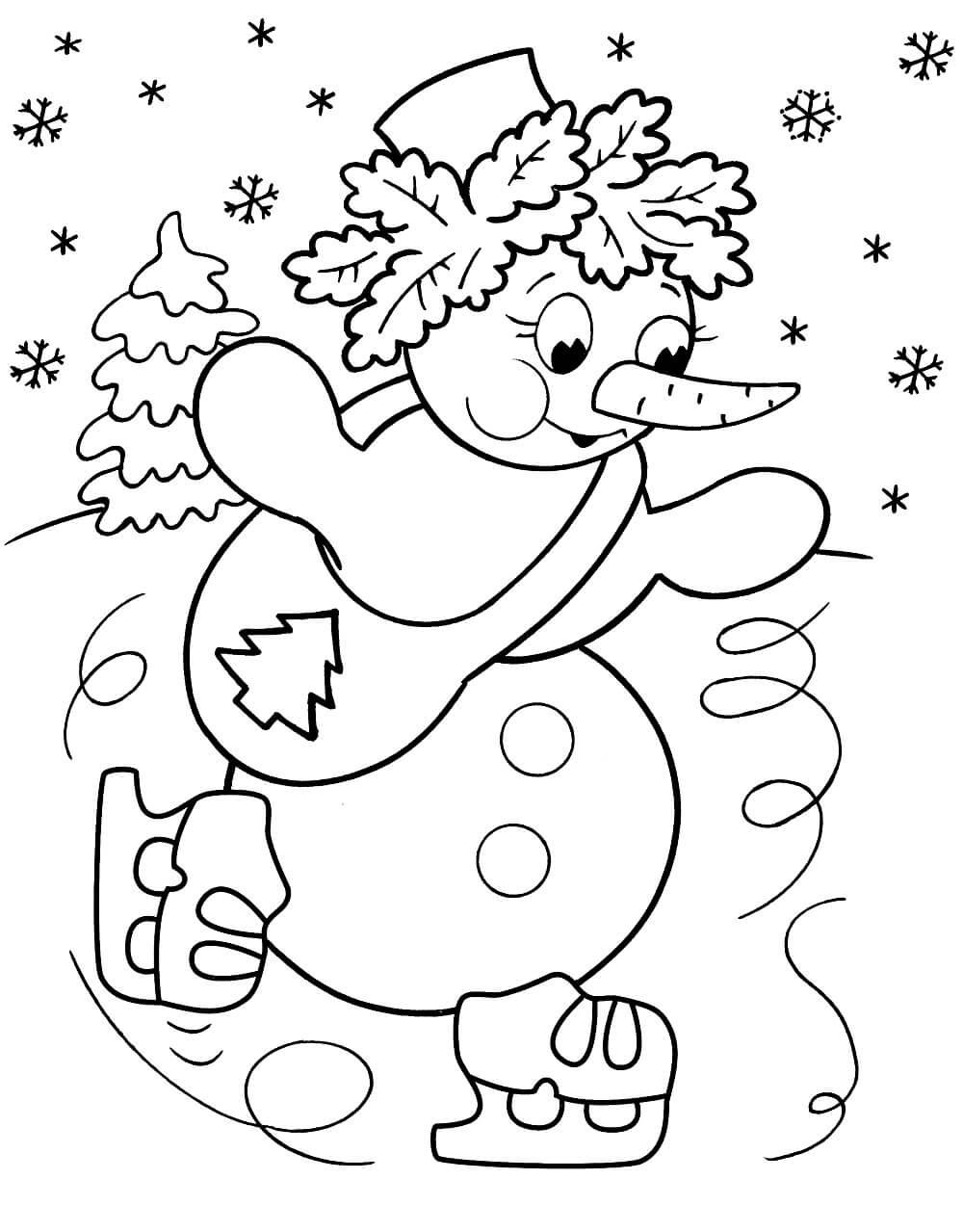 Раскраска Снеговик на коньках