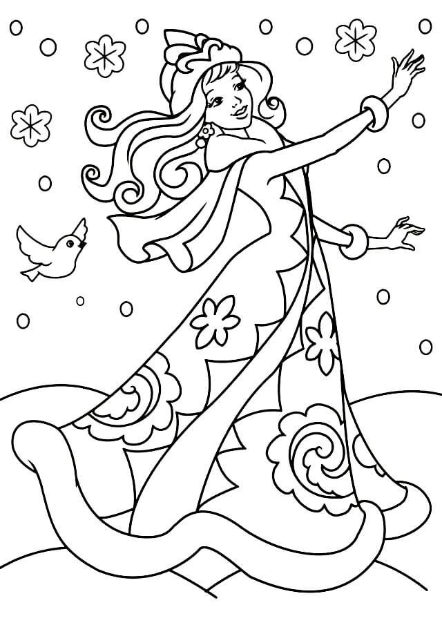 Раскраска Снегурочка радуется