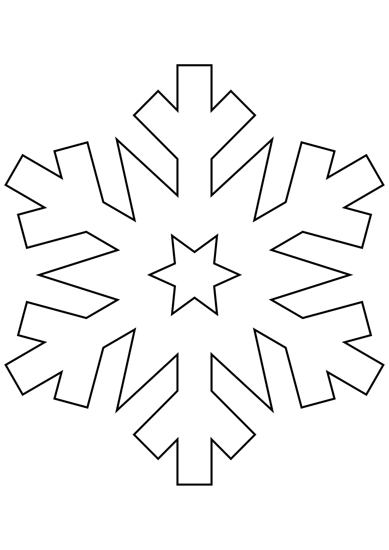 Шаблон для вырезания Снежинка со звездочкой