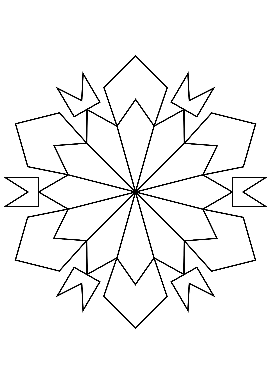 Шаблон для вырезания Загадочная снежинка