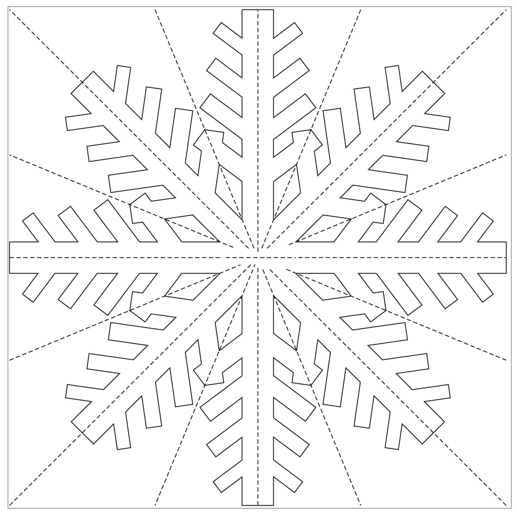 Шаблон для вырезания Снежинка для украшения окон