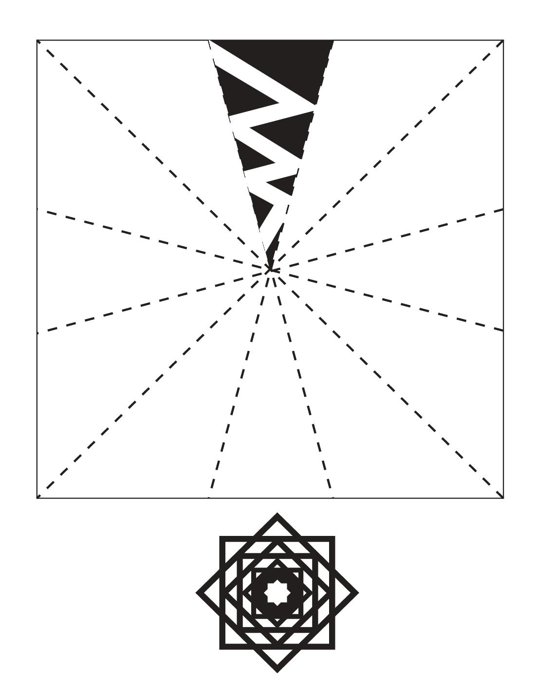 Шаблон для вырезания Снежинка из квадратов