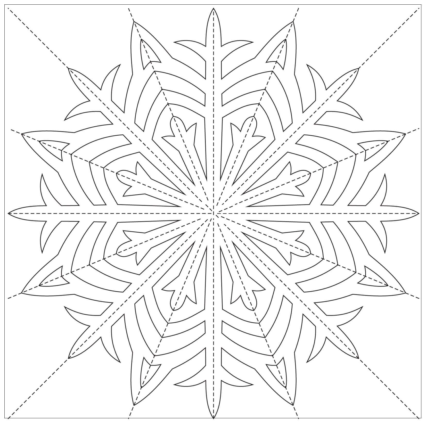 Шаблон для вырезания Чудесная снежинка