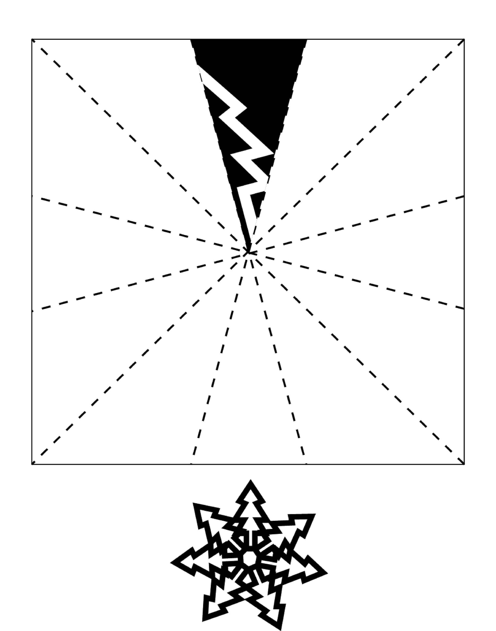 Шаблон для вырезания Снежинка из бумаги