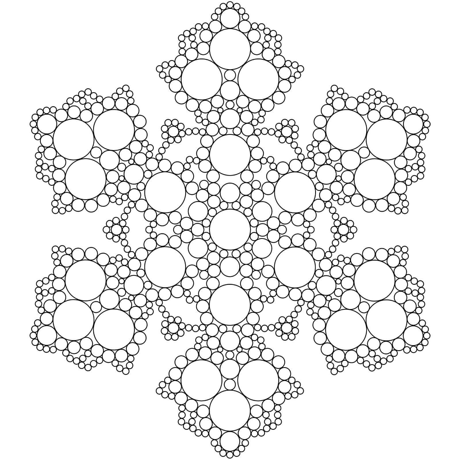 Шаблон для вырезания Снежинка из кружочков