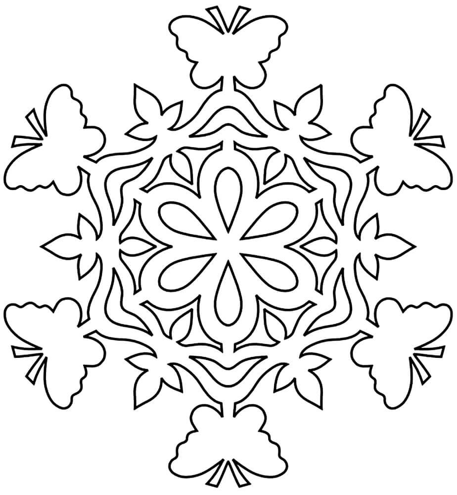 Шаблон для вырезания Снежинка с бабочками