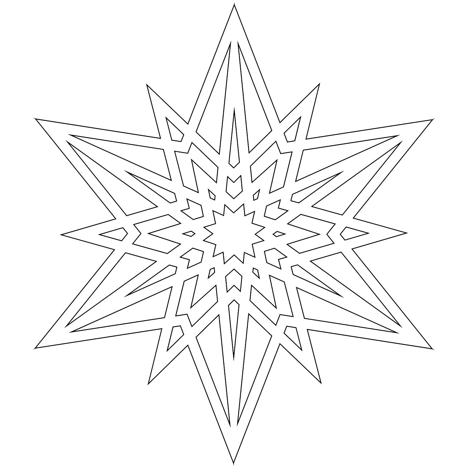 Шаблон для вырезания Снежинка с острыми углами