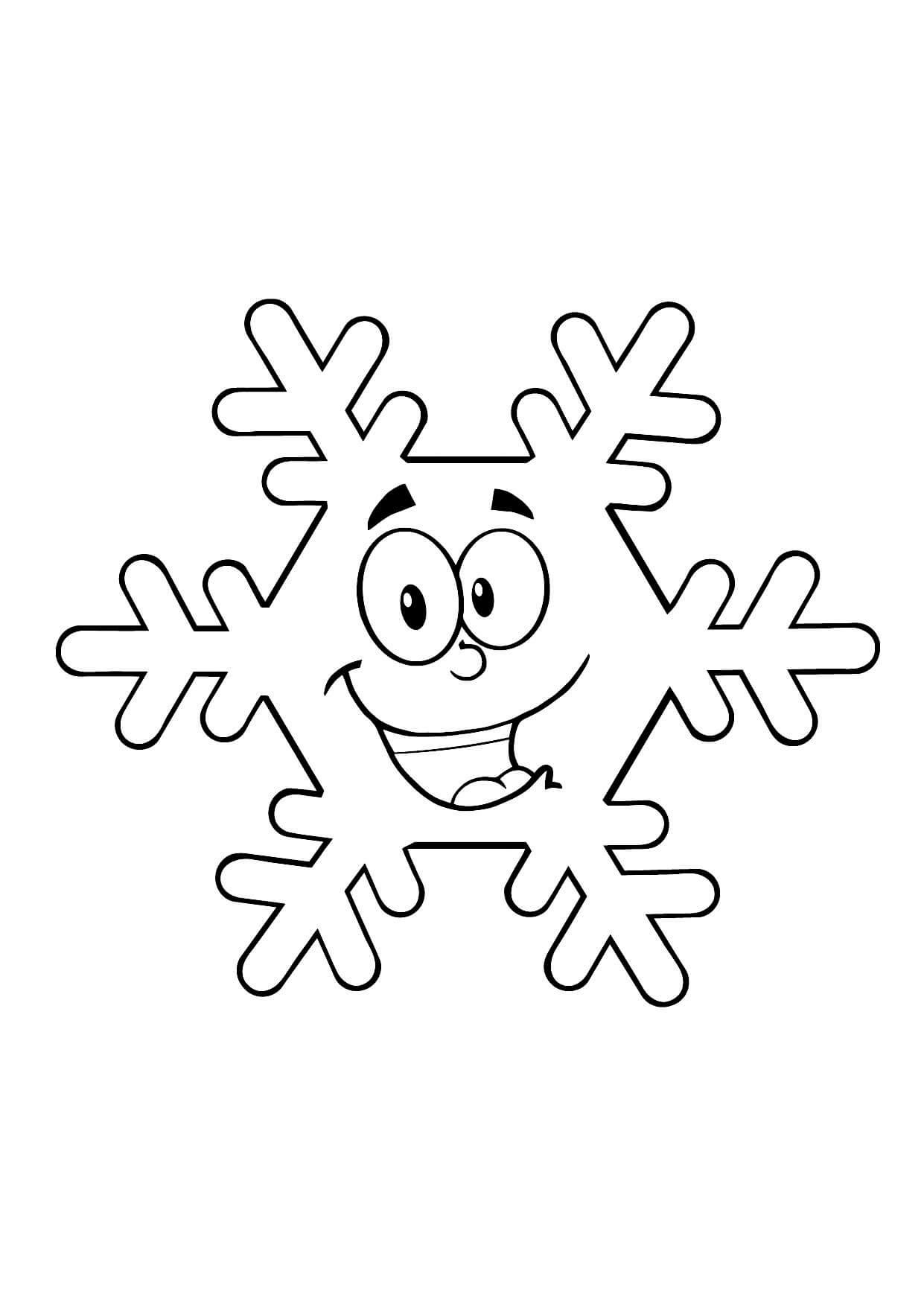 Раскраска Снежинка улыбается