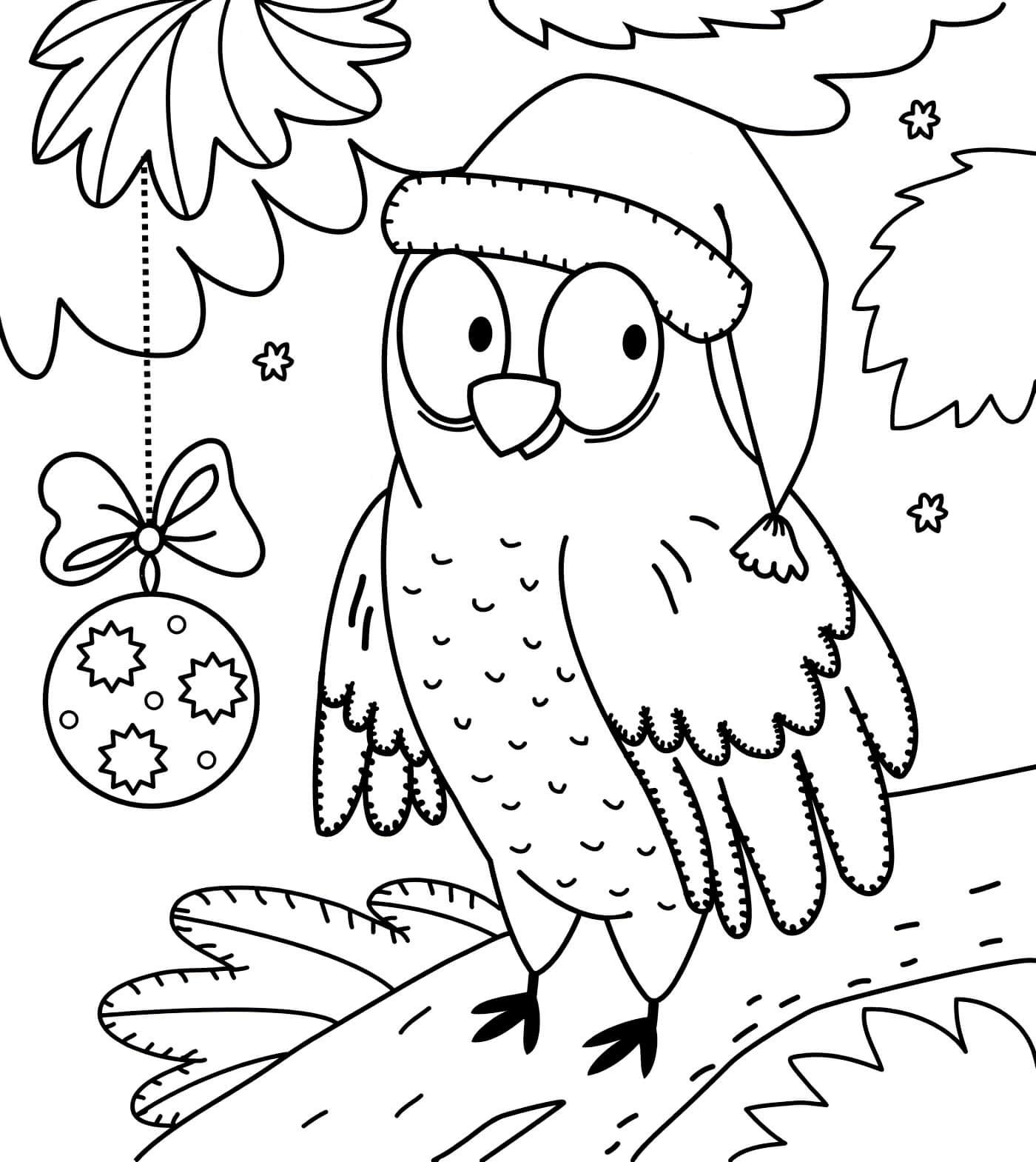 Раскраска Сова и Новый год