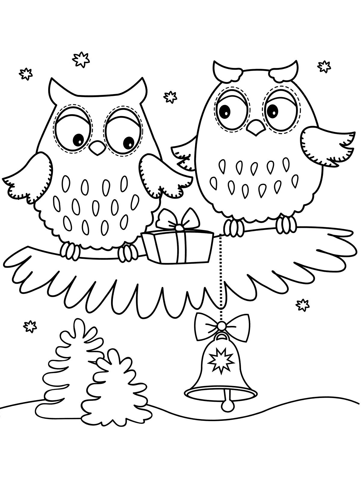Раскраска Совёнок дарит подарок сове