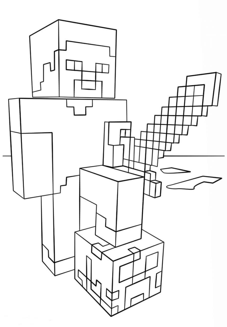 Раскраска Стив с алмазным мечом