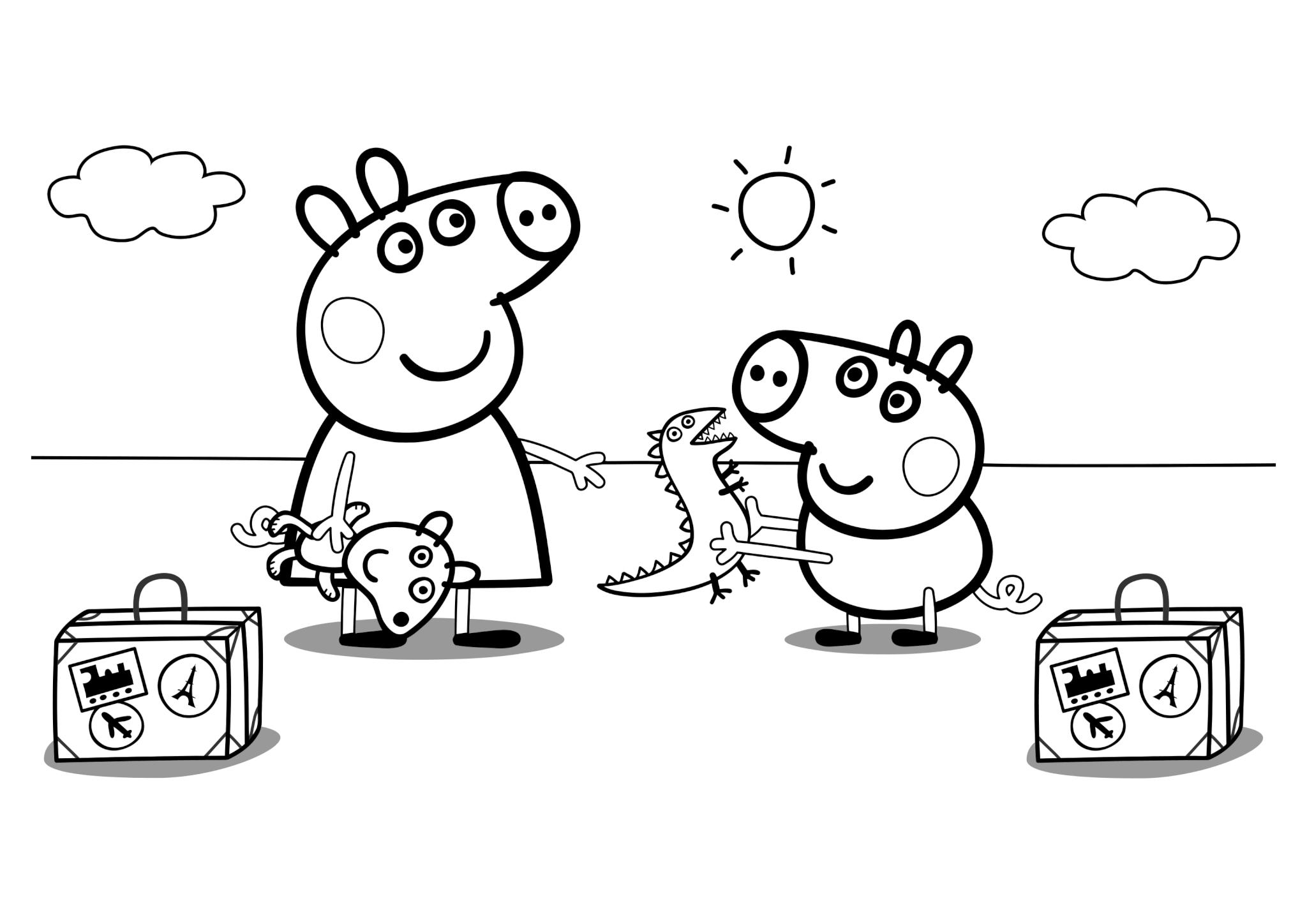 Раскраска «Свинка Пеппа и Джордж c чемоданами»