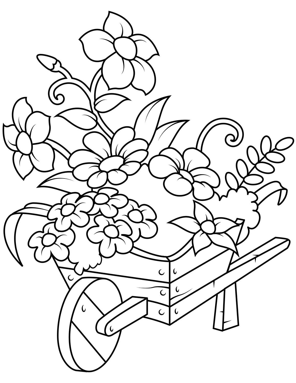 Раскраска Тележка с цветочками