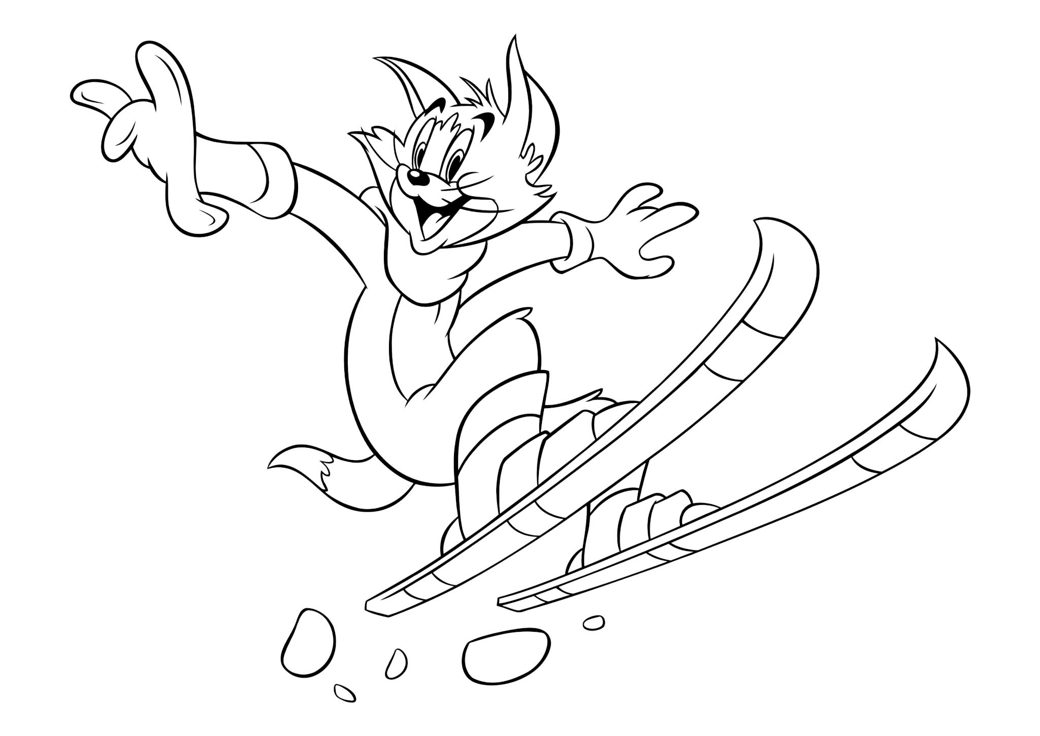 Раскраска Том на лыжах