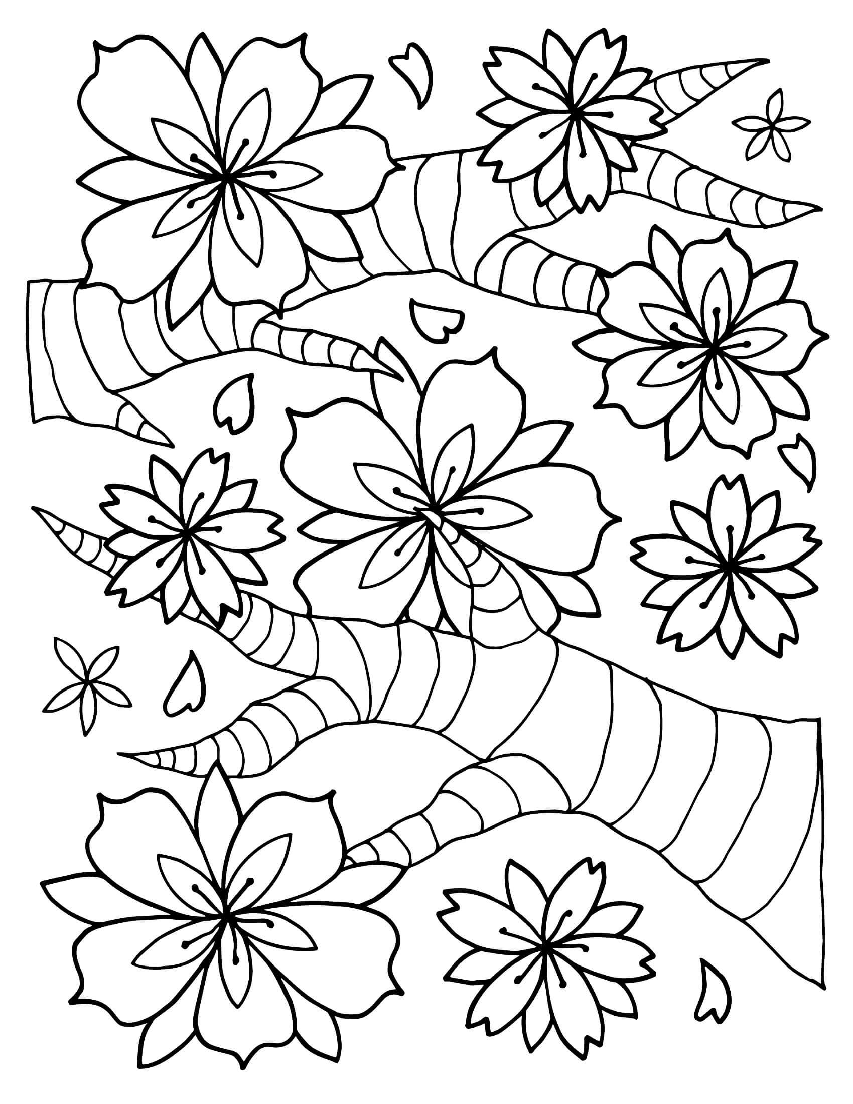 Раскраска Цветущие веточки