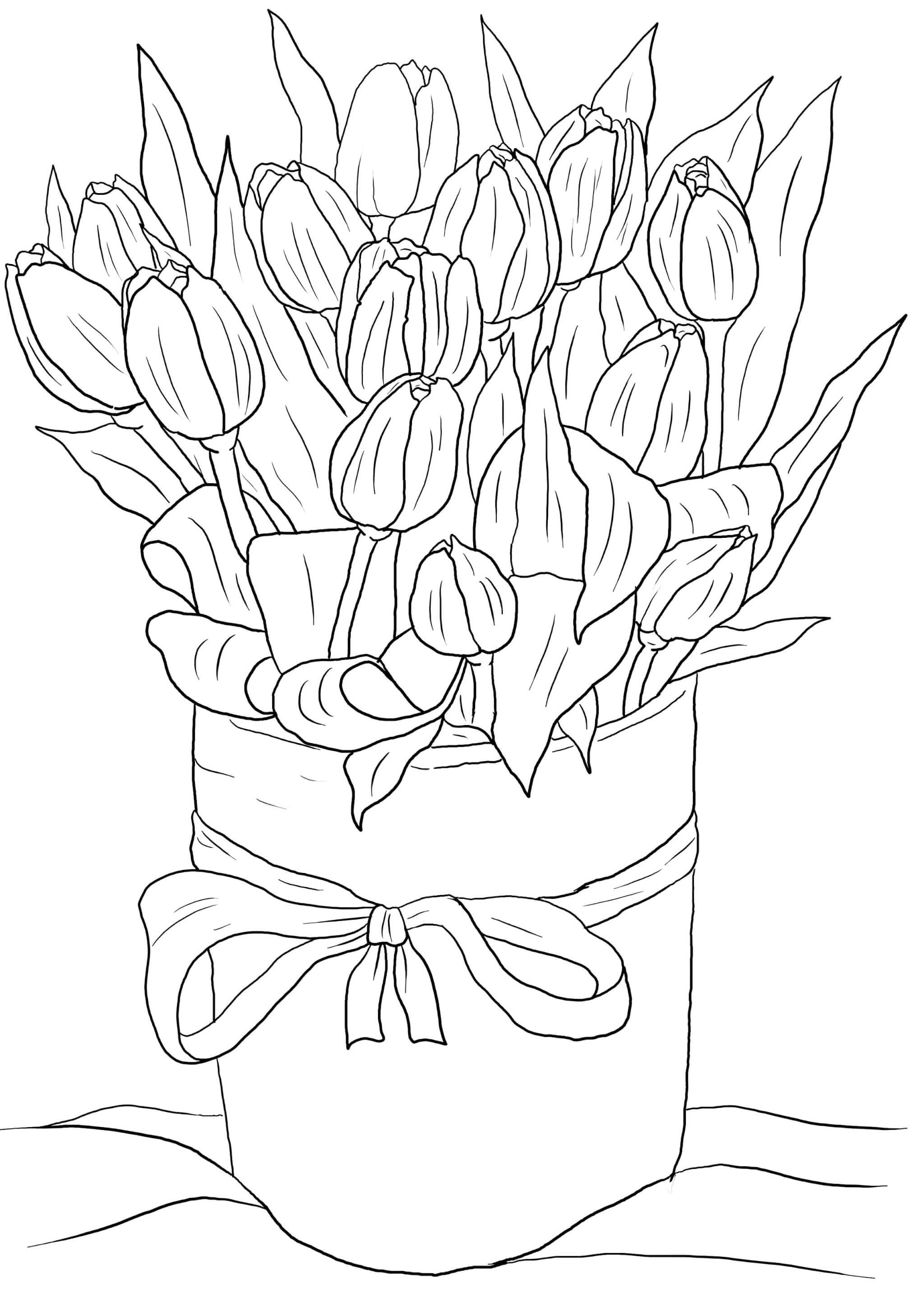 Раскраска Тюльпаны к 8 марта